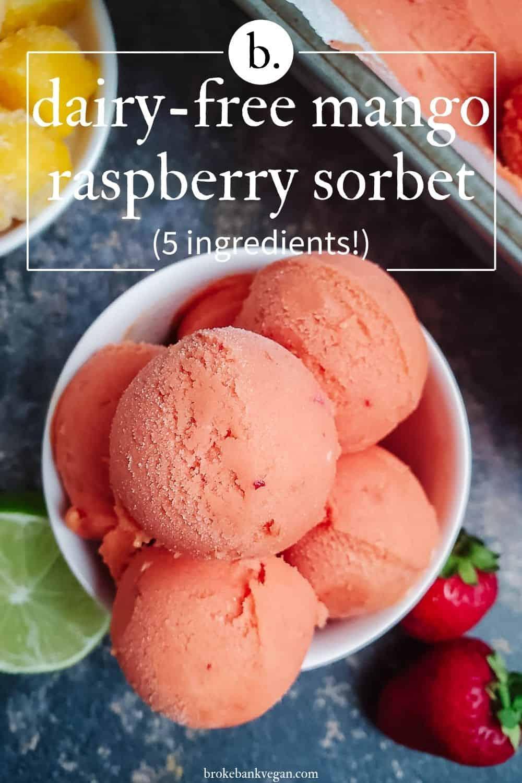 Dairy-Free Mango Raspberry Sorbet