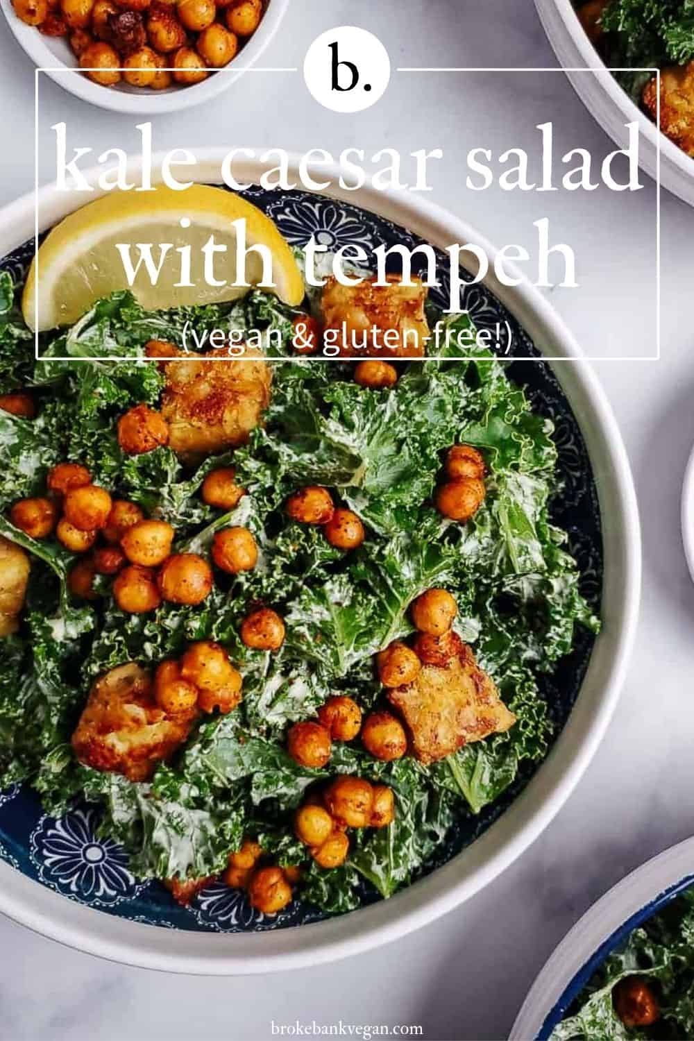 Kale Caesar Salad With Chickpea & Tempeh Croutons