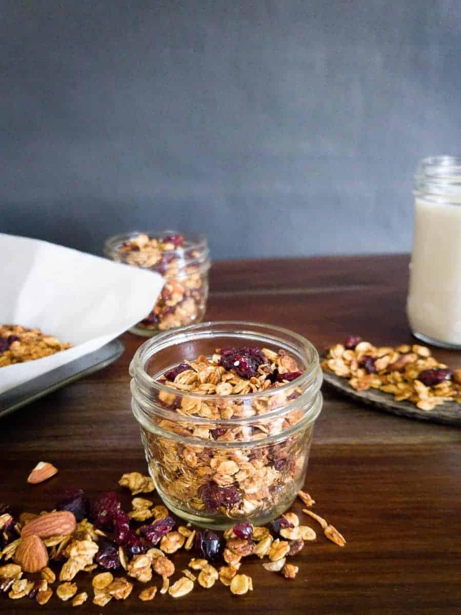 Granola In Mason Jars With Milk