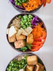 Bowls With Vegetables & Tofu Inside