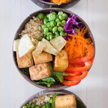 Bowls With Vegetables & Tofu Inside