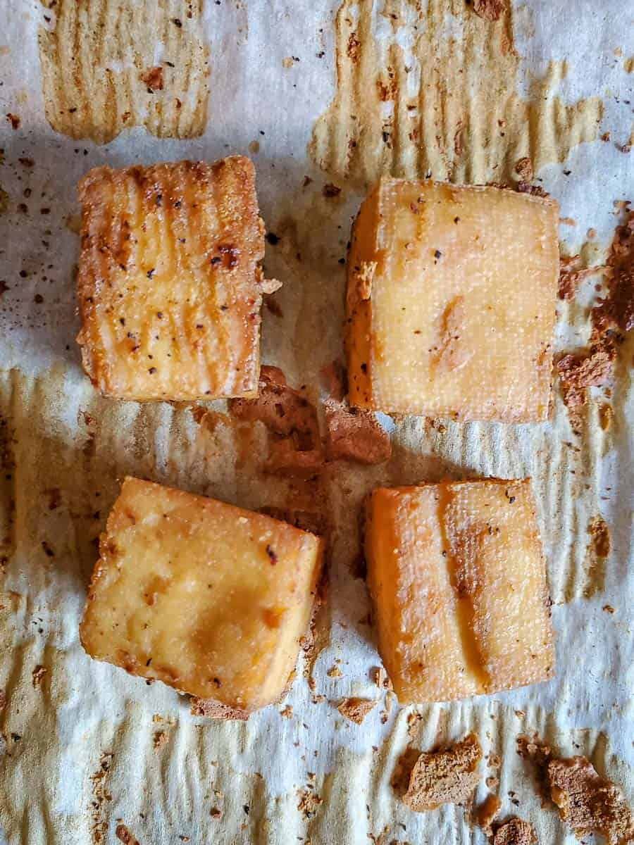 Baked Tofu Cubes On A Pan