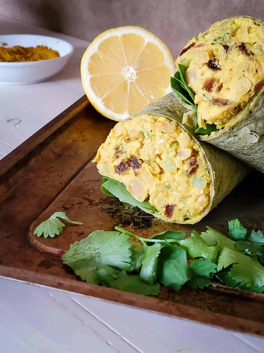 Curried Chickpea Tuna Salad Wrap