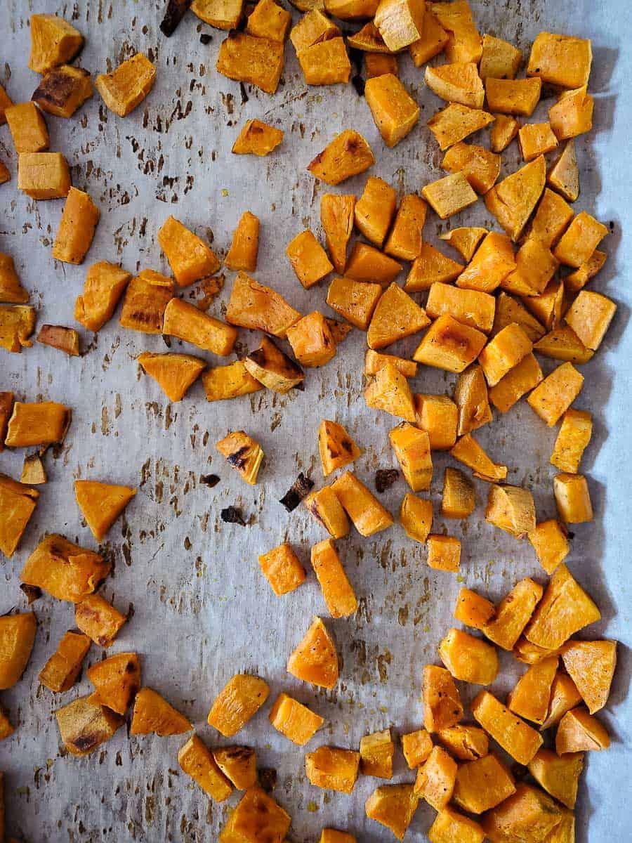 Roasted Sweet Potato Cubes