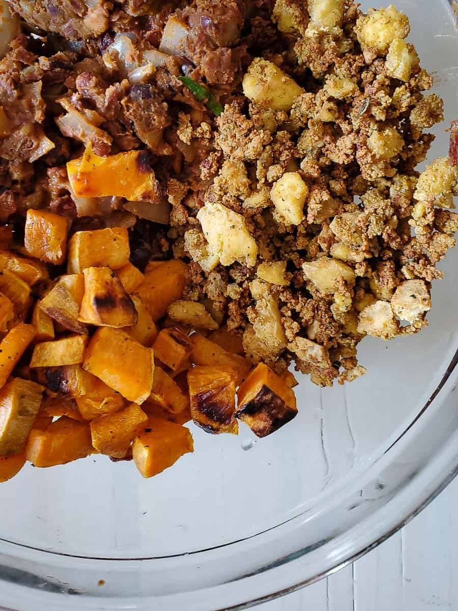 Bean Mixture, Sweet Potatoes, and Baked Vegan Ground Beef in a Bowl