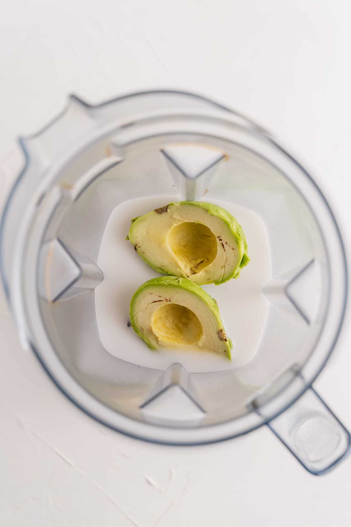 Coconut Milk and Avocado in a Blender