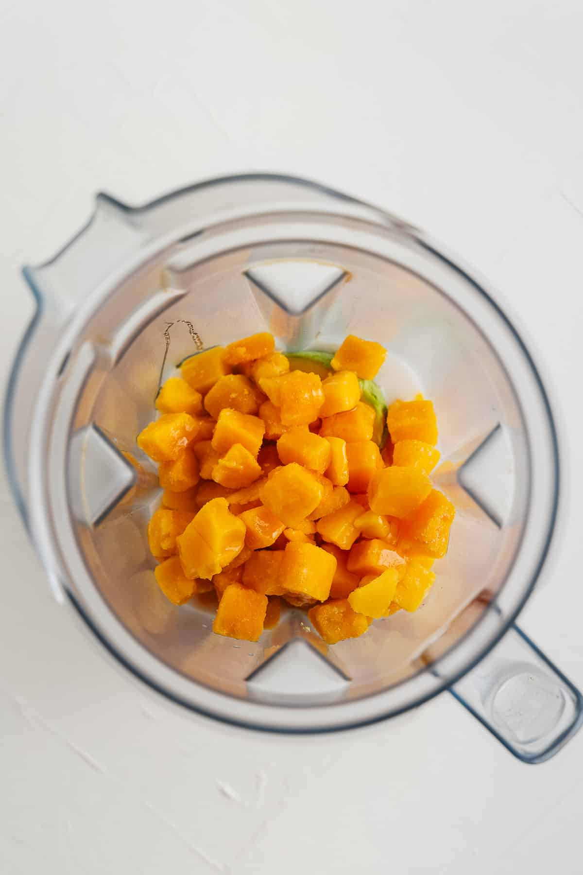 Mango Chunks and Avocado in a Blender