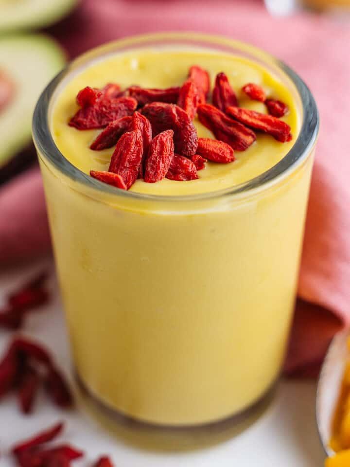 Mango Smoothie With Avocado and Goji Berries