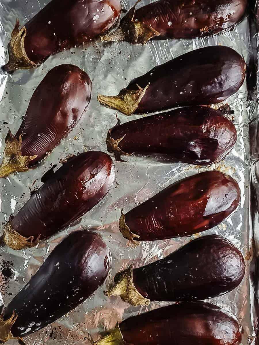 Roasted Eggplant On Baking Sheet