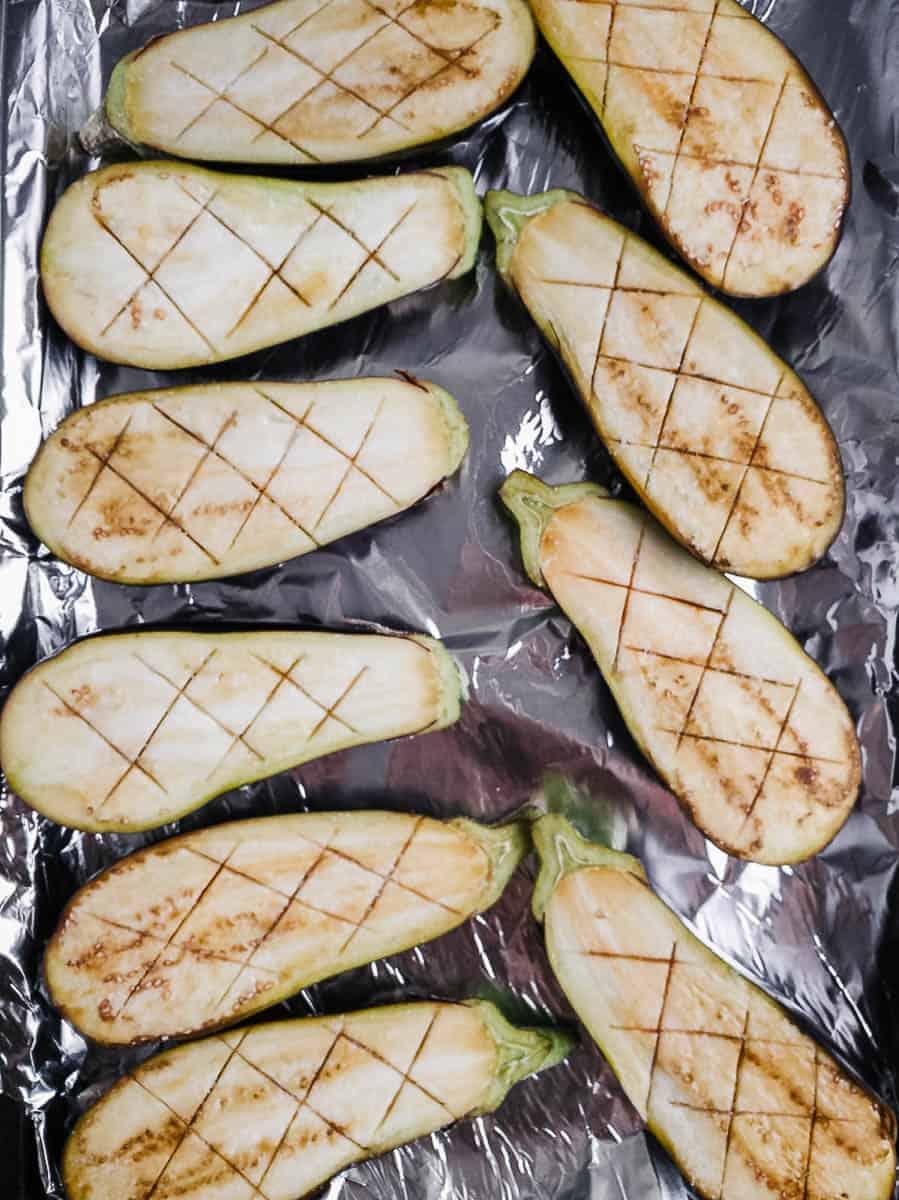 Sliced Eggplant On Baking Sheet