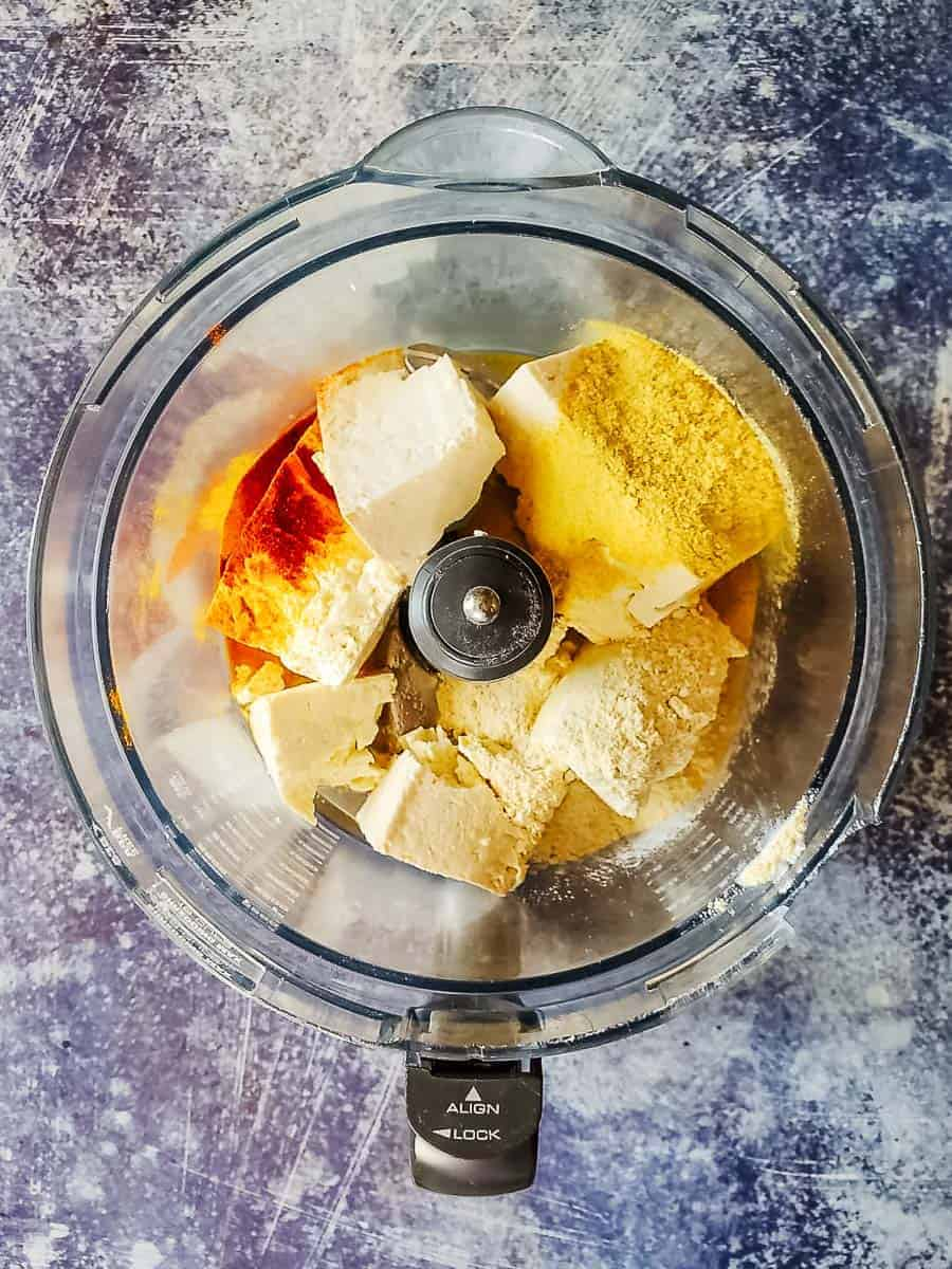 Tofu, Chickpea Flour, and Spices in a Food Processor
