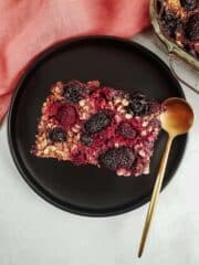 Baked Berry Oatmeal On A Plate