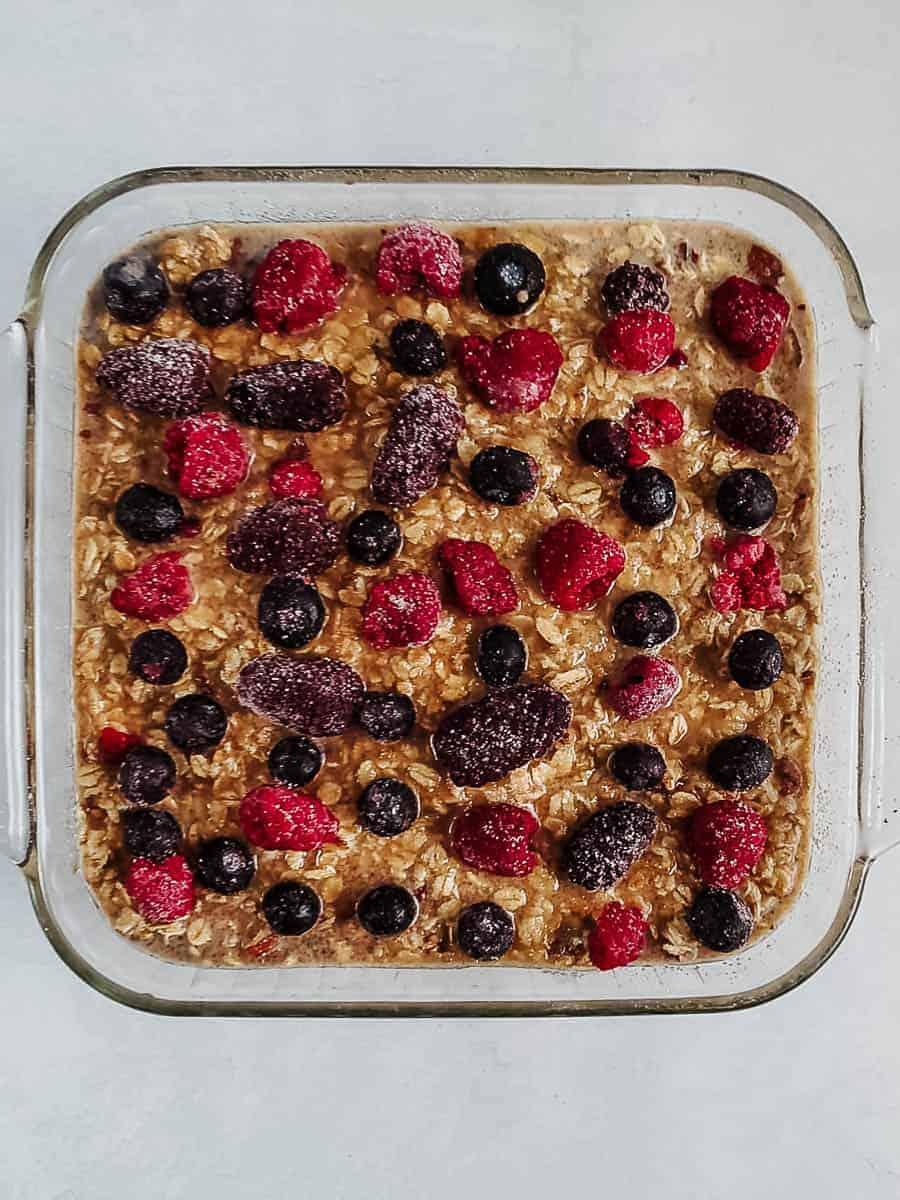 Unbaked Oatmeal in a Casserole Dish