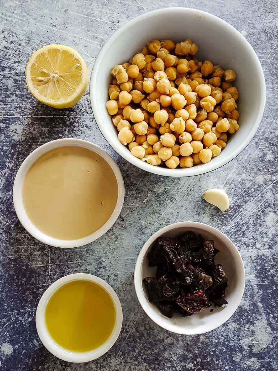Chickpeas, Beets, Tahini, Lemon, Garlic, and Oil