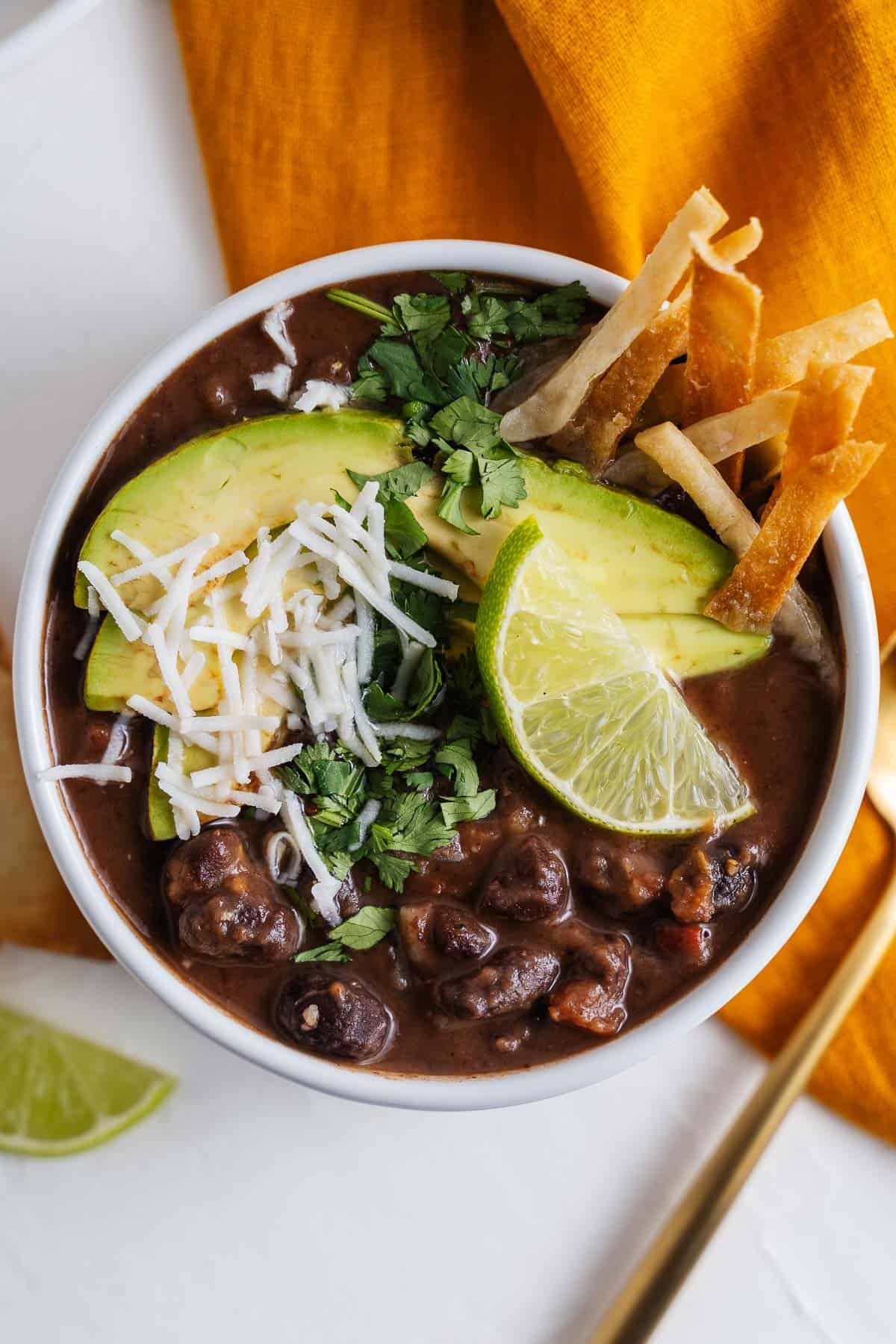 Black Bean Soup With Garnishes