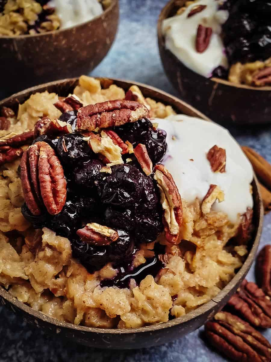 Oatmeal With Blueberries, Pecans, And Coconut Yogurt