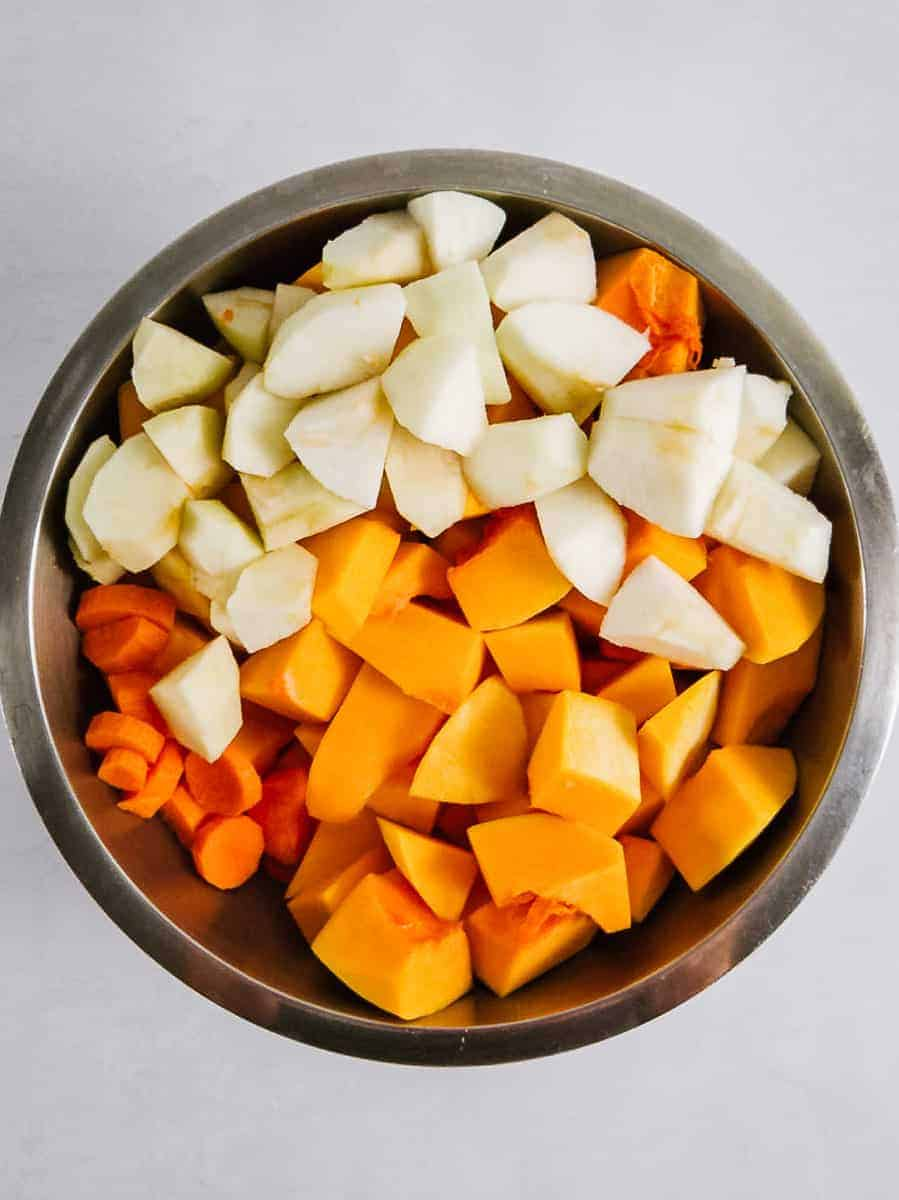 Chopped Butternut Squash, Apple, and Carrot in a Bowl