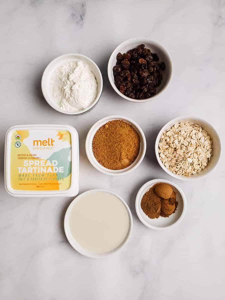 Melt Butter, Flour, Raisins, Oats, Spices, Coconut Sugar, And Plant Milk