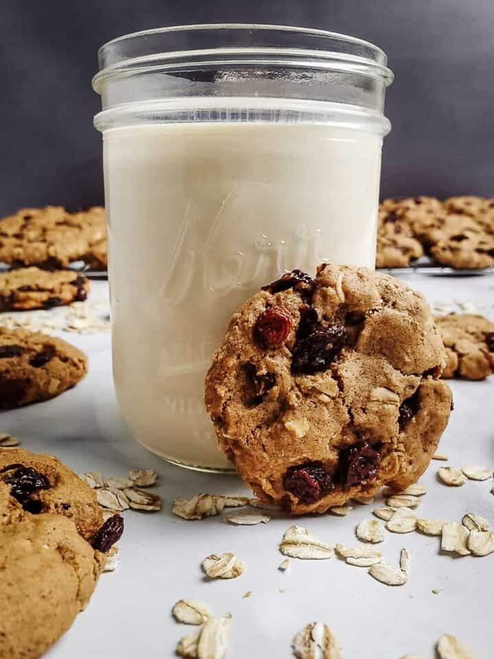 Oatmeal Raisin Cookie With A Jar Of Milk