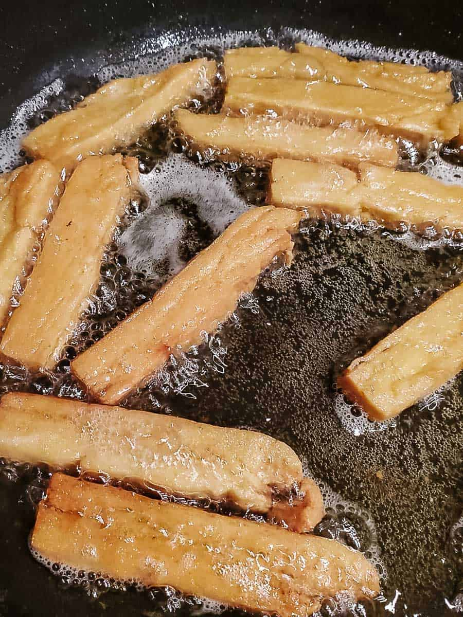 Chickpea Fries Frying In Oil