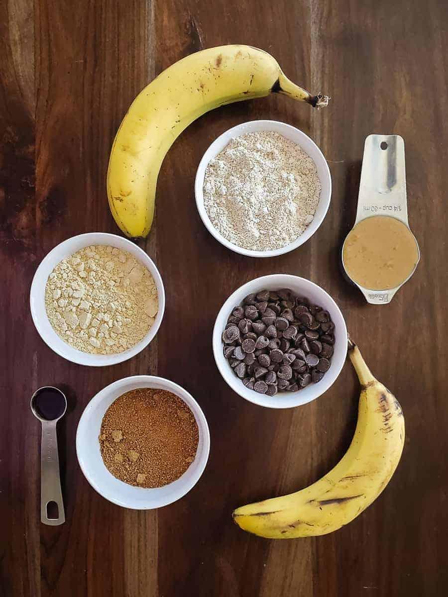 Banana, Flour, Sugar, Chocolate Chips, Vanilla, And Peanut Butter