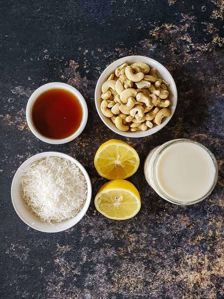 Lemon, Coconut Shreds, Maple Syrup, Cashews, & Coconut Manna