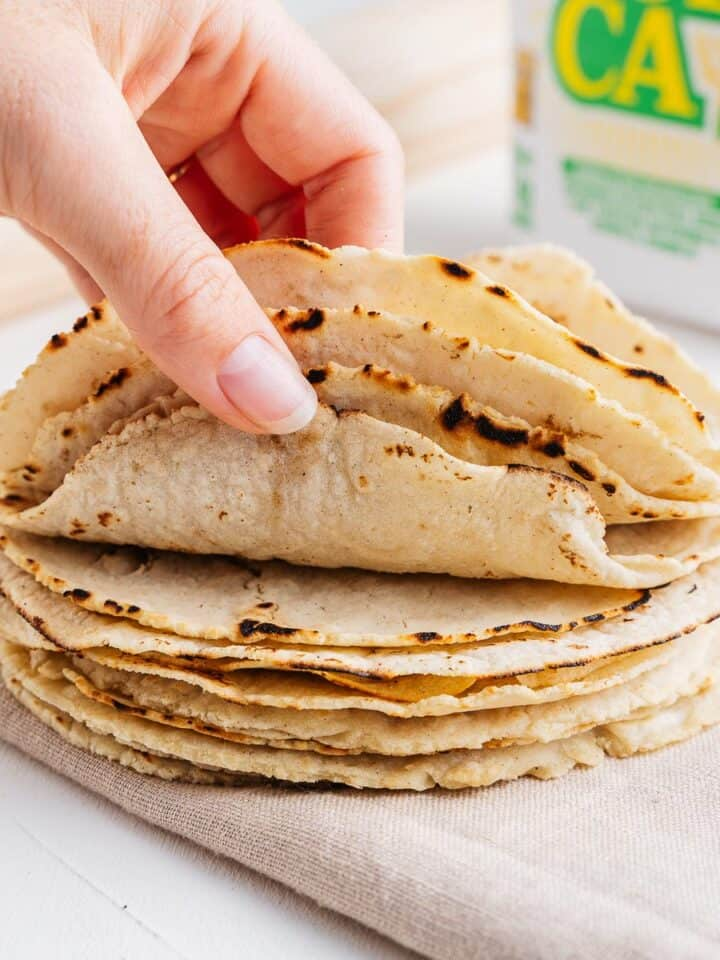 Hand Holding Corn Tortillas