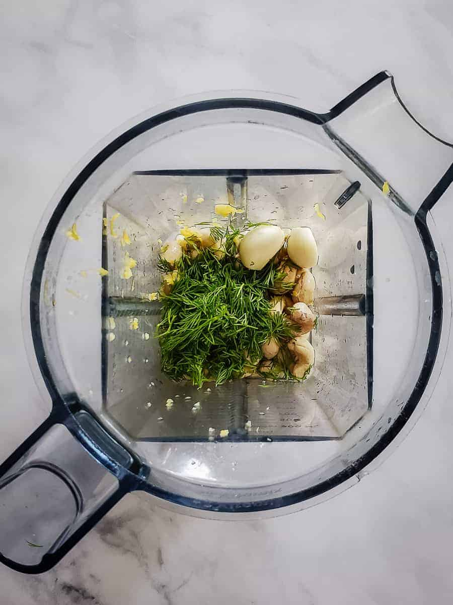 Lemon, Garlic, Dill, Cashews, And Oil In A Blender