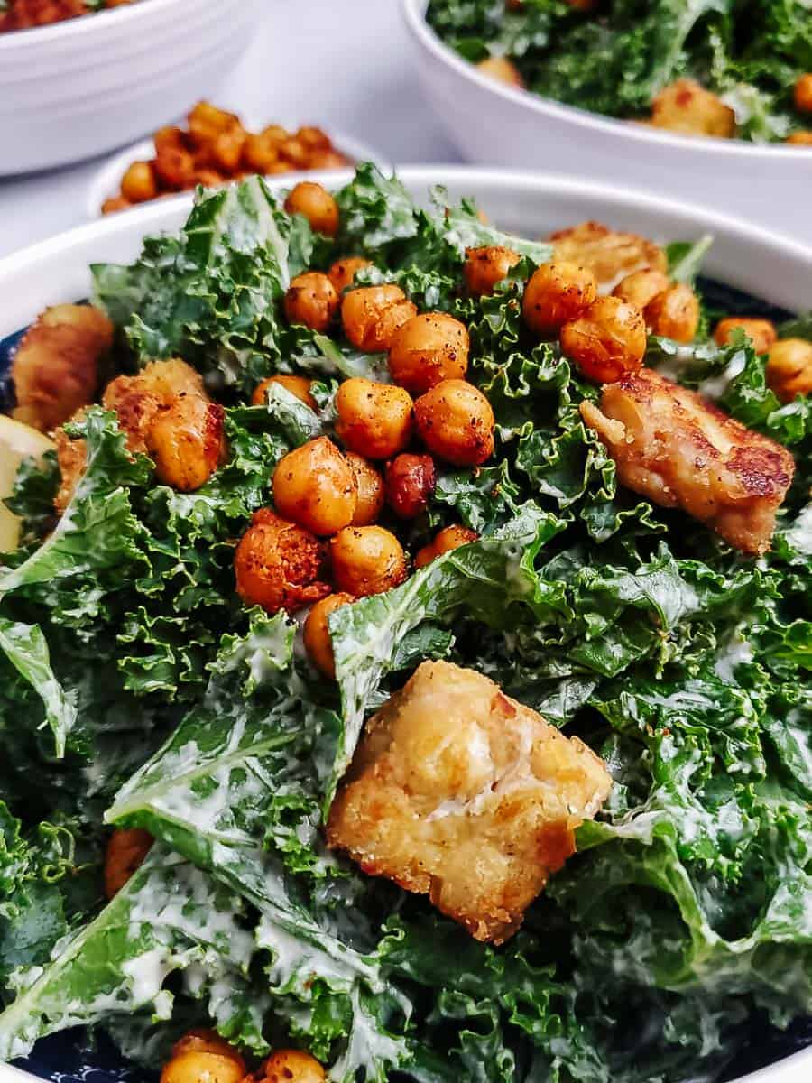 Kale Caesar Salad With Tempeh And Chickpea Croutons