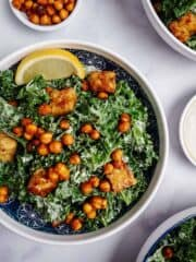 Kale Caesar Salad With Tempeh & Chickpea Croutons