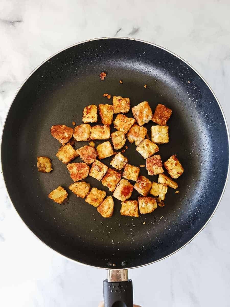 Cooked Tempeh In A Pan