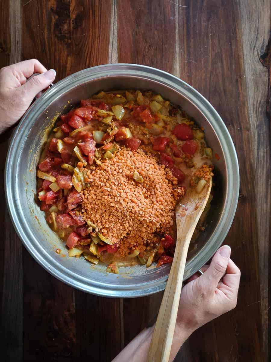 Red Lentils & Vegetables In A Pot