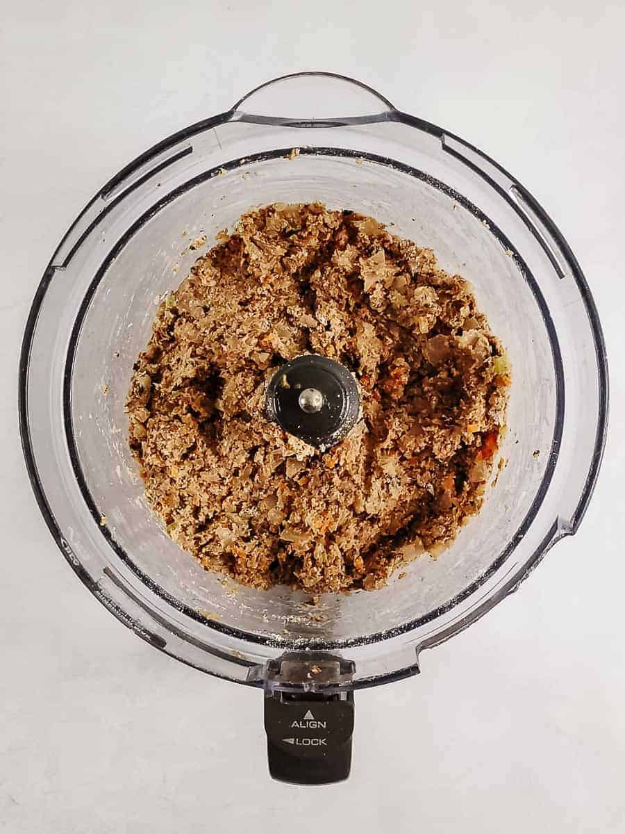 Ground Up Lentils, Vegetables, And Spices In A Food Processor