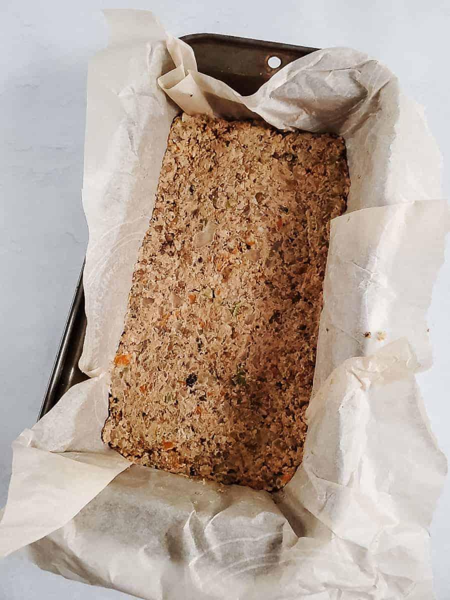 Unbaked Vegan Lentil Loaf in a Pan