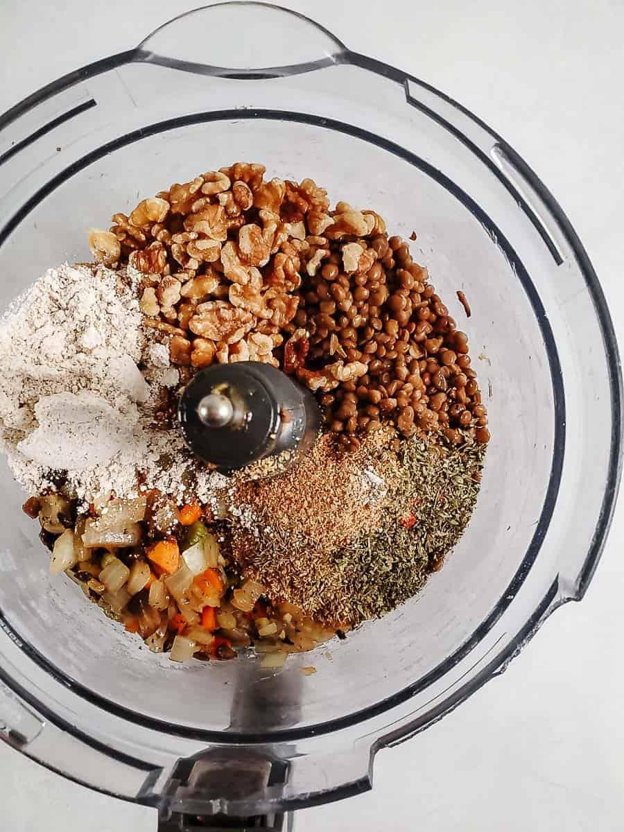Ingredients For Lentil Loaf In A Food Processor