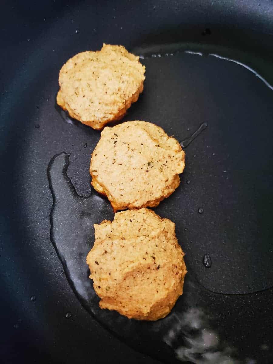 Raw Lentil Patties In A Frying Pan
