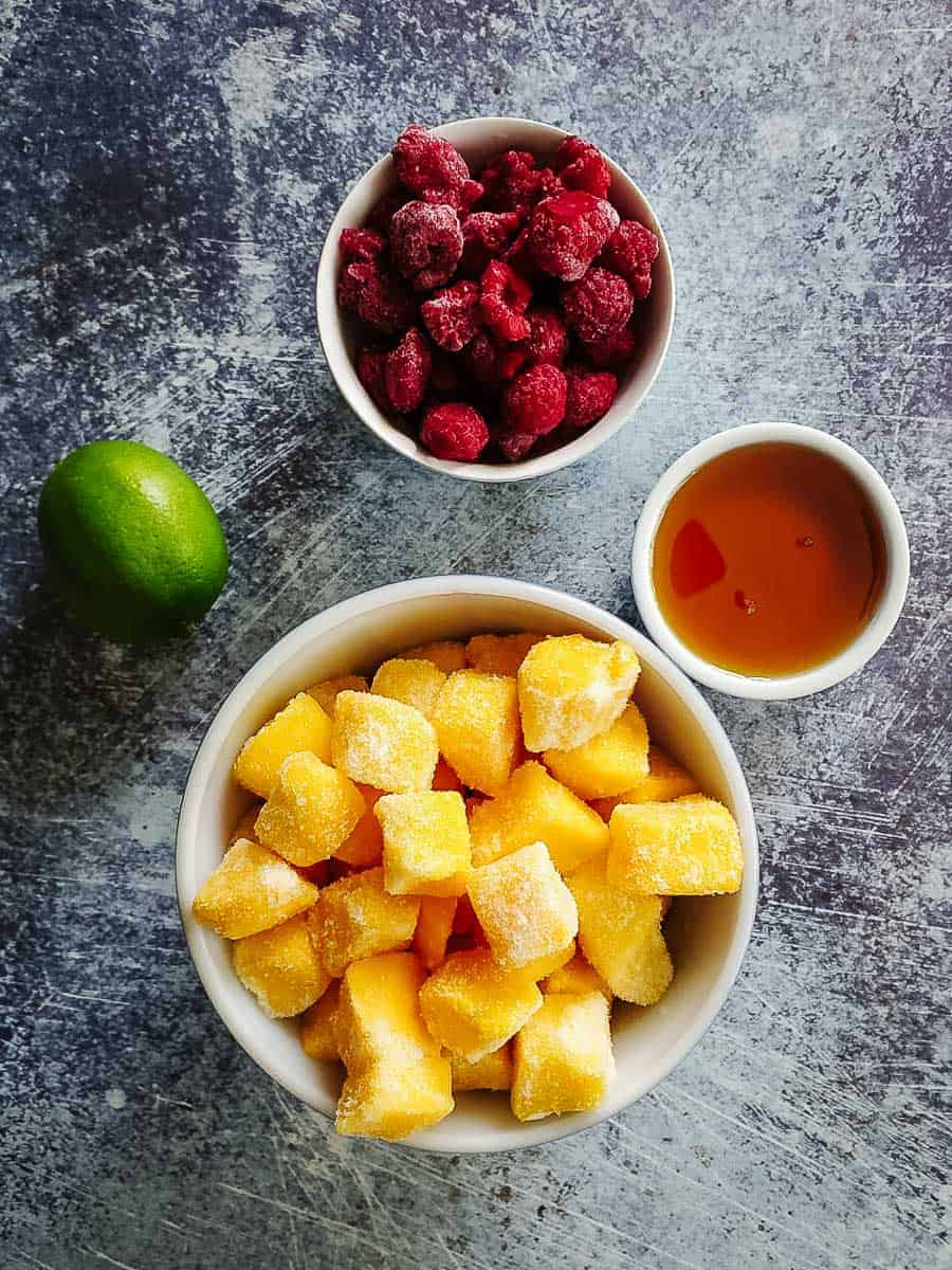 Mango, Raspberries, Lime, And Maple Syrup