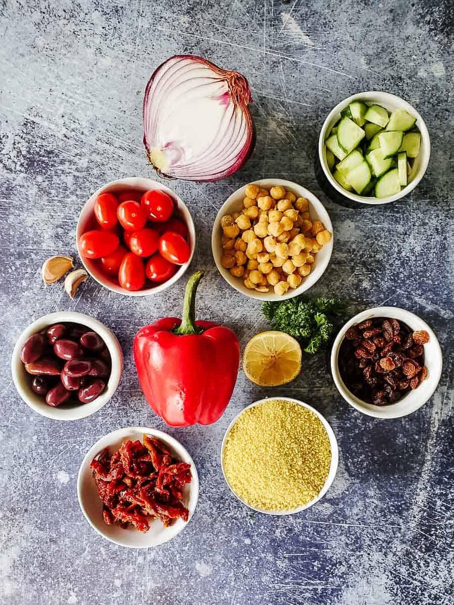 Vegetables, Couscous, Oil, Lemon, and Herbs