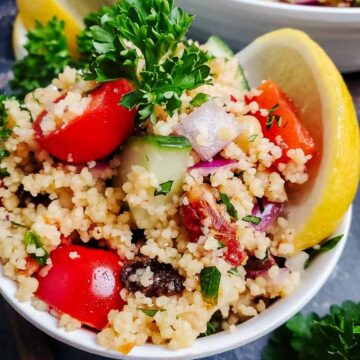Mediterranean Couscous Salad With Lemon Herb Dressing