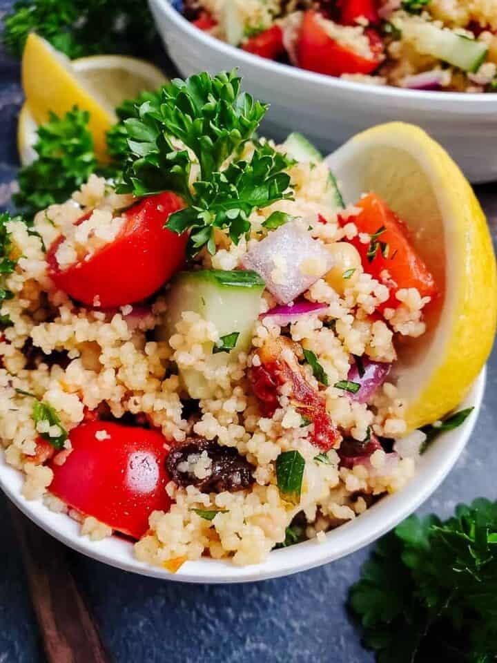 Mediterranean Couscous Salad With Lemon Herb Dressing