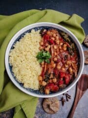 Moroccan Chickpea Stew With Spoon And Towel