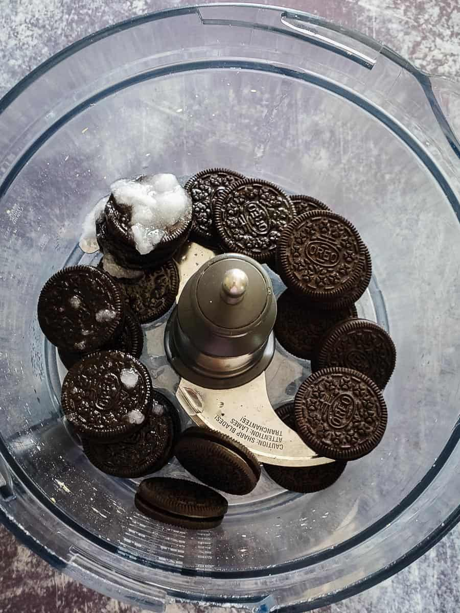 Oreo Cookies And Coconut Oil In A Food Processor
