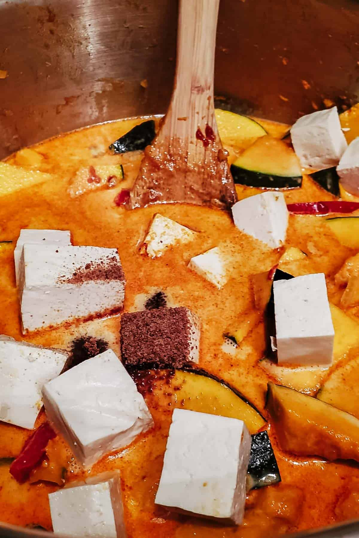 Red Curry With Kabocha Squash & Tofu Chunks