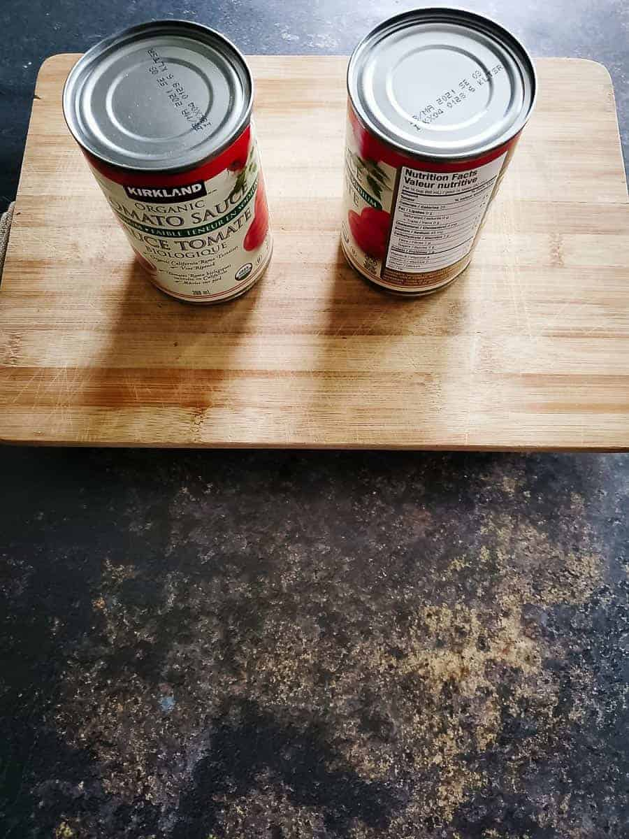 Cutting Board With Cans On Top