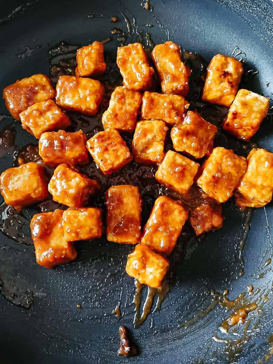 Tofu Cubes Tossed In Marinade