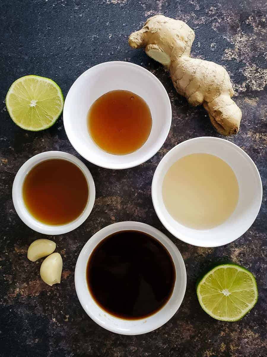 Sesame Oil, Tamari, Ginger, Garlic, Lime, Maple Syrup, And Rice Vinegar