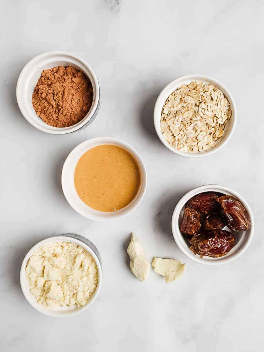 Peanut Butter, Cacao Powder, Oats, Almond Flour, Dates, Cocoa Butter