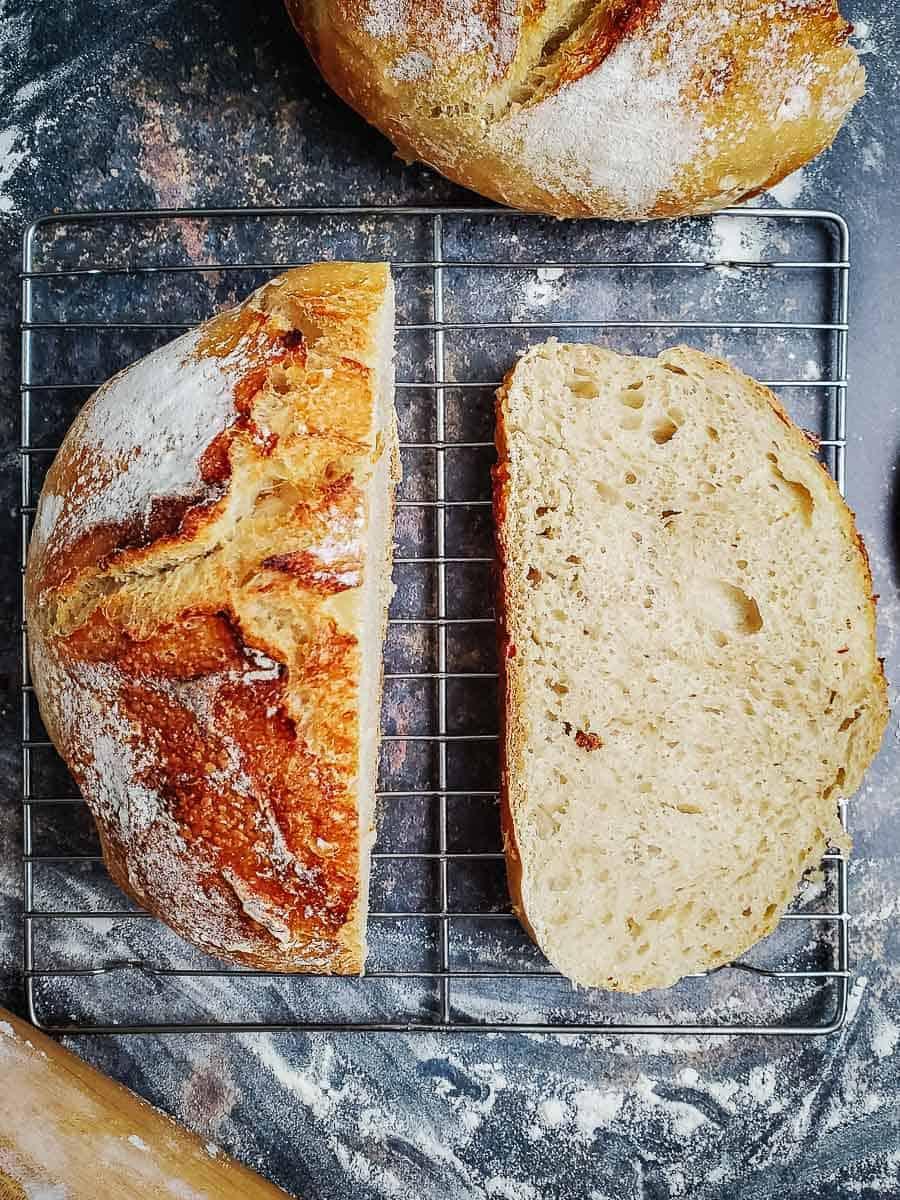 Sourdough Bread Loaf Cut In Half