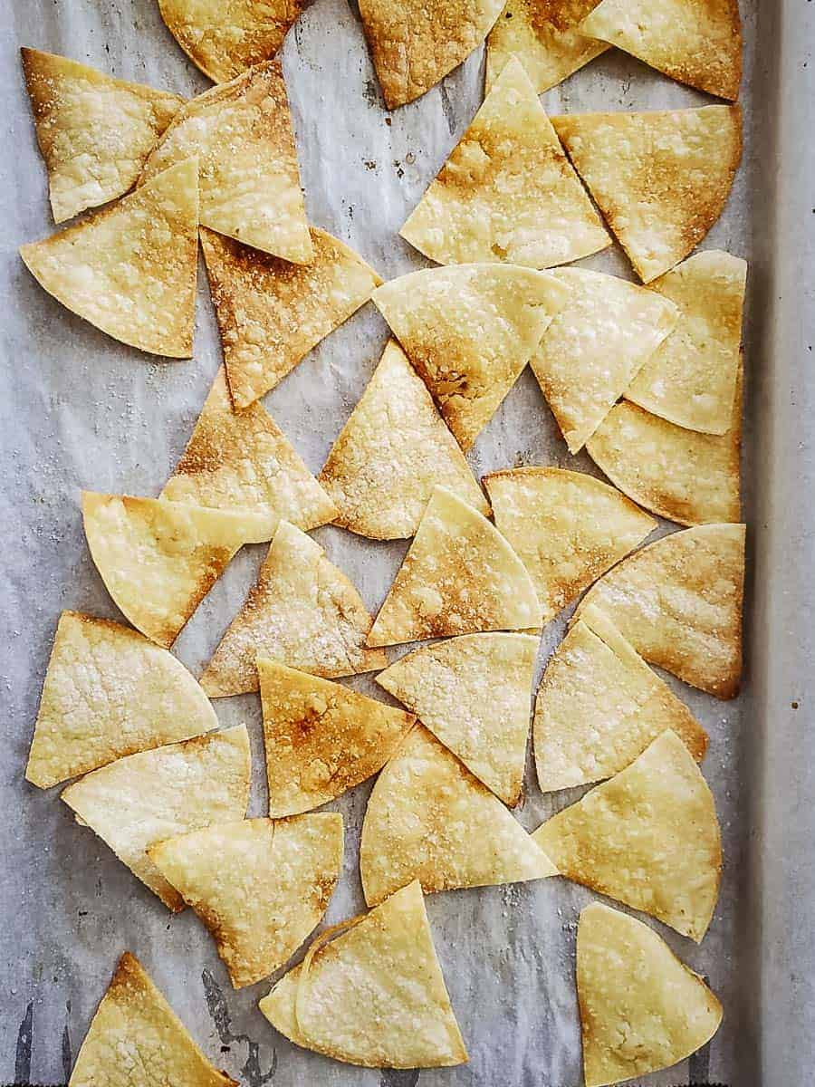 Baked Tortilla Chips On A Pan