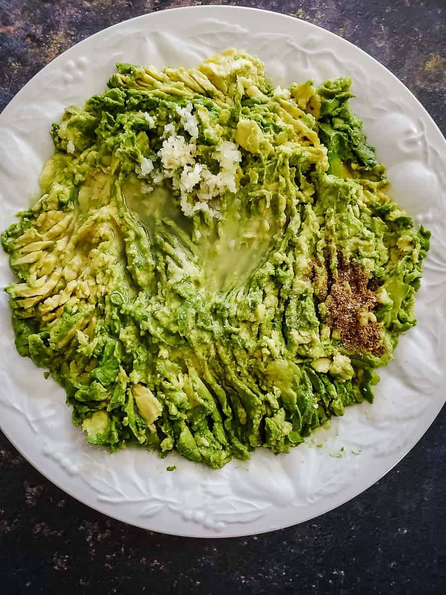 Mashed Avocado on a Plate